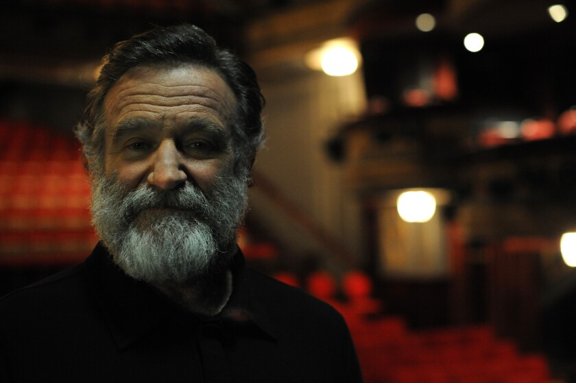 """Actor Robin Williams on the set of the play """"Bengal Tiger at the Baghdad Zoo"""" at the Richard Rodgers Theater in New York in 2011."""