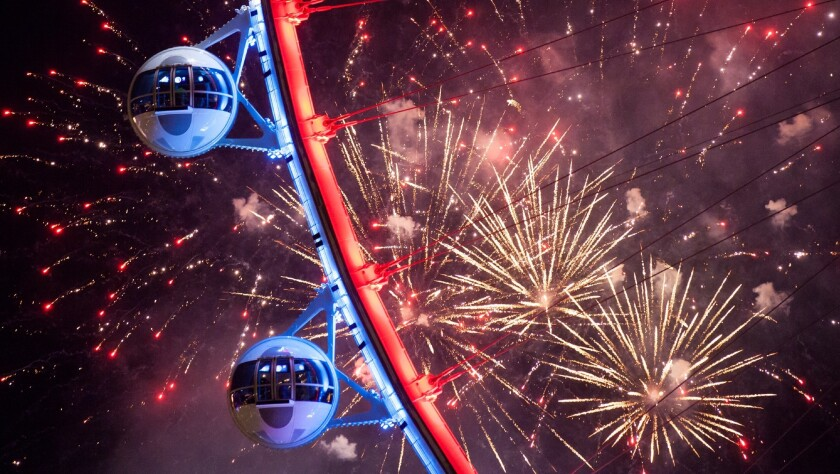 The High Roller, the giant Ferris wheel near the Las Vegas Strip, will provide birds-eye views of the fireworks to be launched above nearby Caesars Palace on July 3.