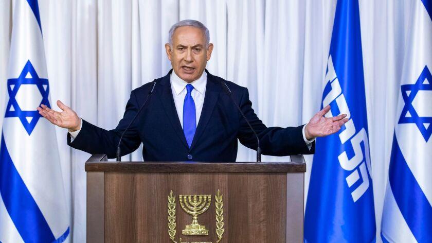 Israeli Prime Minister Benjamin Netanyahu makes election stagtement in Tel Aviv, Israel - 21 Feb 2019