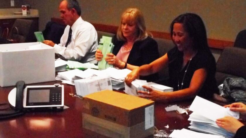 User Upload Caption: City Clerk Nancy Neufeld, center, and other city officials open mailed ballots
