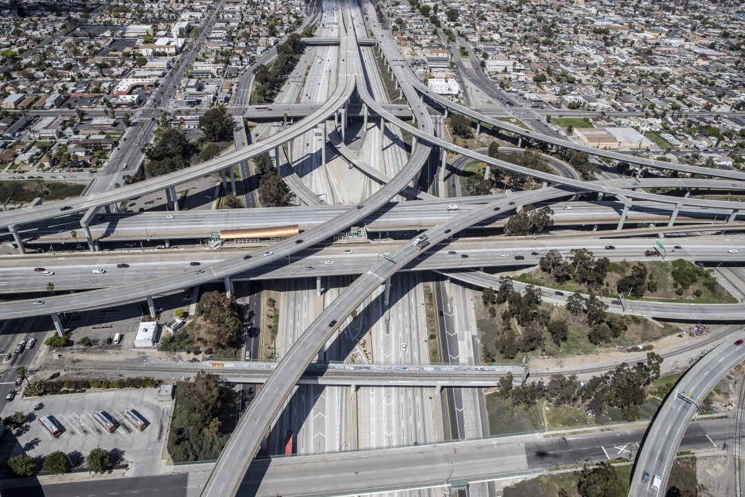110 and the 105 freeways