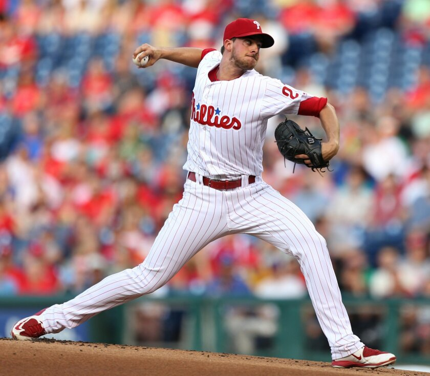 Philadelphia Phillies starting pitcher Aaron Nola throws during the first inning of a baseball game against the Washington Nationals, Tuesday, May 31, 2016, in Philadelphia. (AP Photo/Laurence Kesterson)
