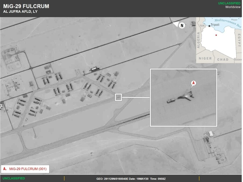 Satellite image shows Russian fighter jets recently deployed to Libya.