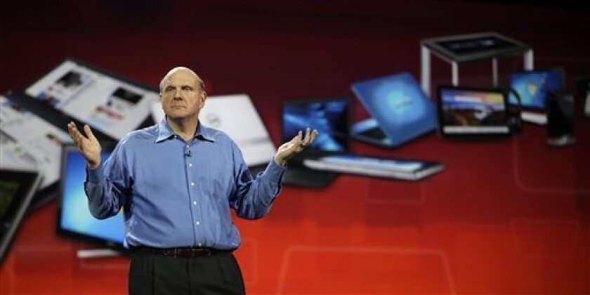 Microsoft chief executive officer Steve Ballmer gives his Keynote speech for the Consumer Electronics Show, Wednesday, Jan. 5, 2011 in Las Vegas. (AP Photo/Julie Jacobson)