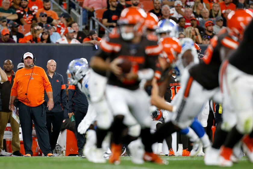 Cleveland Browns coach Freddie Kitchens watches his players during a preseason game against the Detroit Lions on Aug. 29.