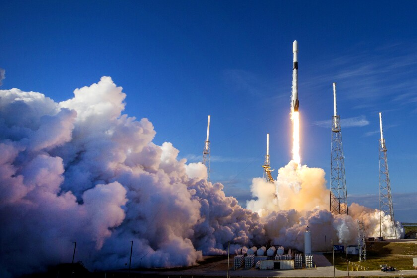 A SpaceX rocket launches satellites in January