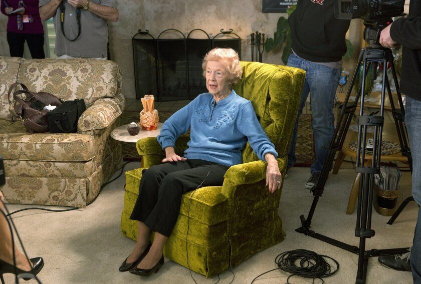 """92-year-old Escondido resident Lura Sheets inspected artillery shell casings as a """"bomb girl"""" in Los Angeles during WWII. A crew from the Reelz cable channel filmed her to promote their """"Bomb Girls"""" dramatic series."""