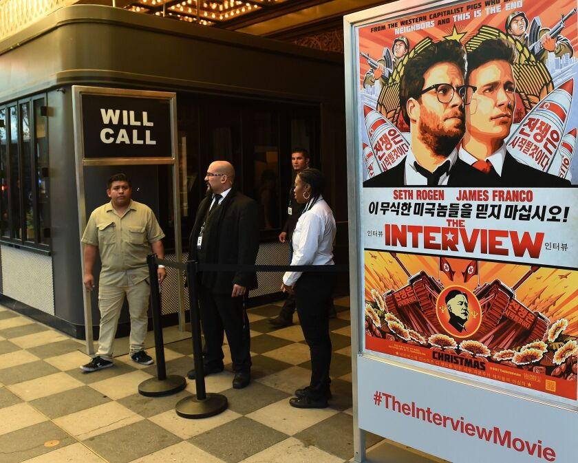 """Security is seen outside The Theatre at Ace Hotel before the Los Angeles premiere of """"The Interview"""" on Dec. 11."""