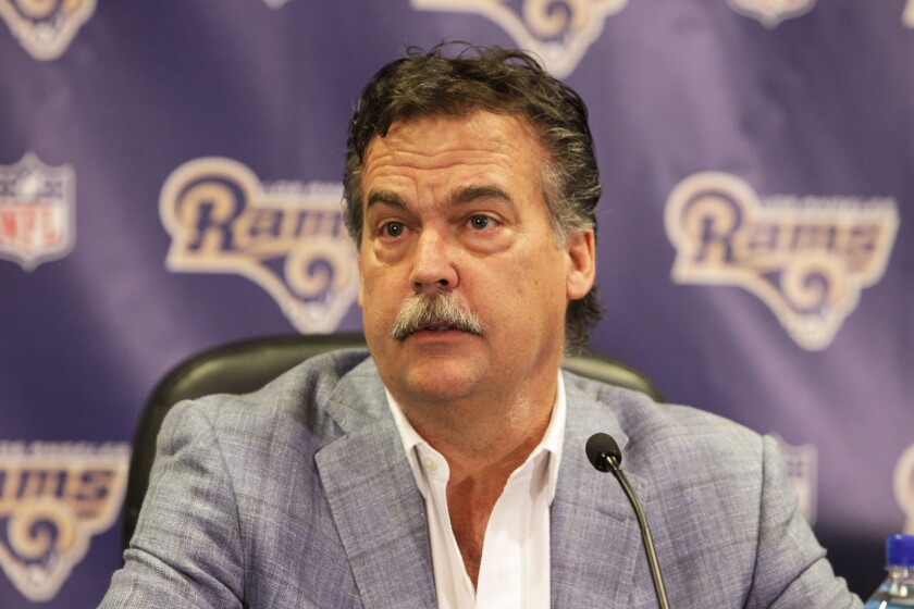 Coach Jeff Fisher of the Los Angeles Rams talks to the media in Manhattan Beach on March 4.