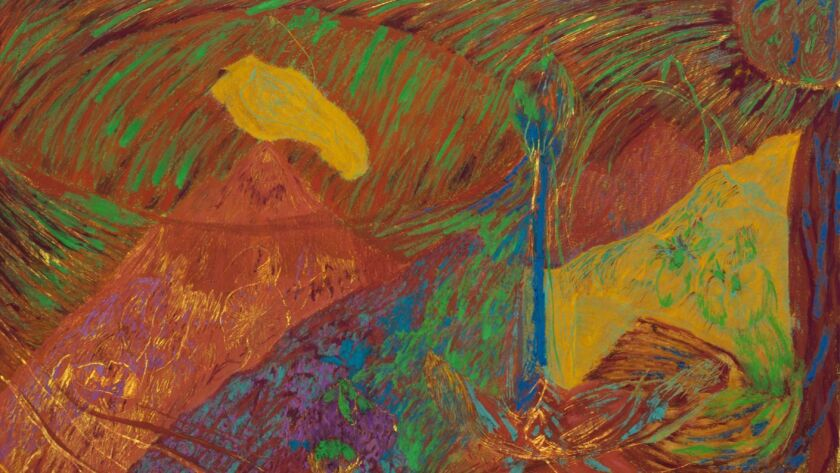 """Mimi Lauter's """"Mountain in a Cage,"""" 2016. Oil pastel, soft pastel on paper, 70 inches by 108.5 inches."""