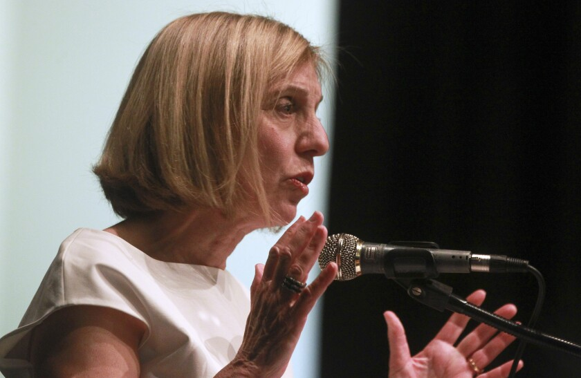 San Diego mayoral candidate Barbara Bry speaking at a forum on coastal issues last month.