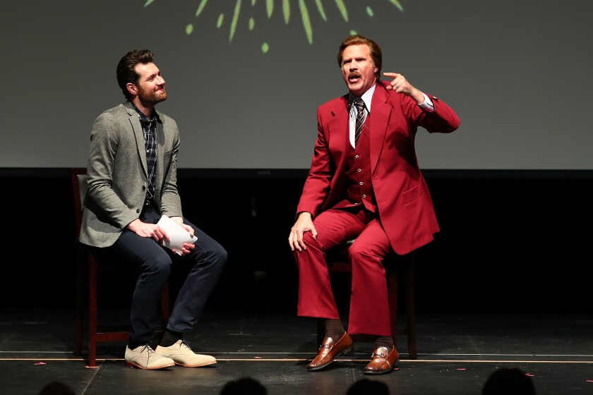 "Billy Eichner and Ron Burgundy (Will Ferrell) ""Glam Up the Midterms"" at the Oceanside High School Performing Arts Center."