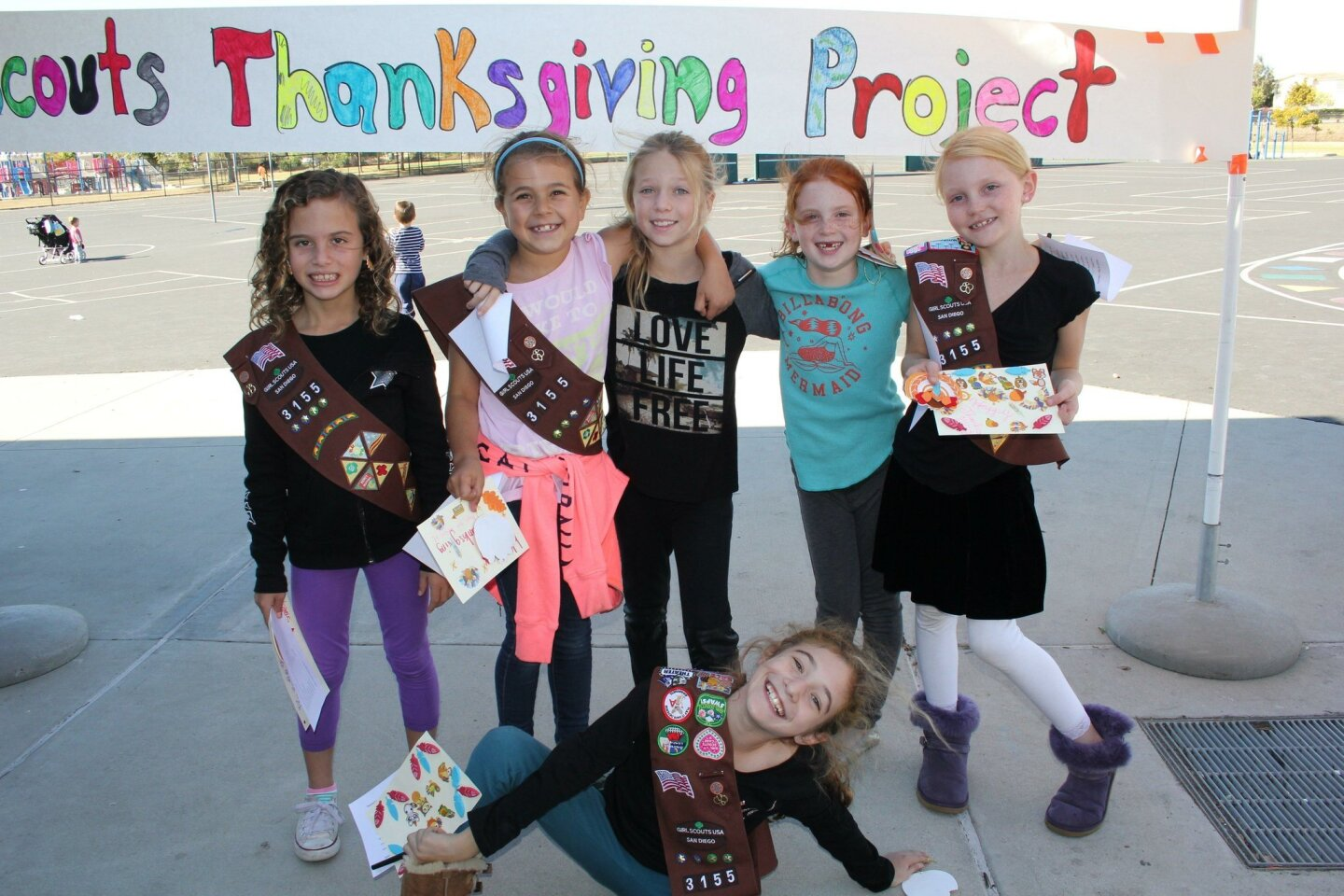 The Sage Canyon Girl Scouts Thanksgiving Project packed up 125 bags for families in need.