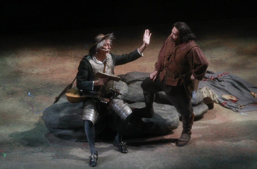 Ferruccio Furlanetto, left, plays Don Quixote, and Eduardo Chama, plays Sancho Panza in a scene in the San Diego Opera's performance of Don Quixote.