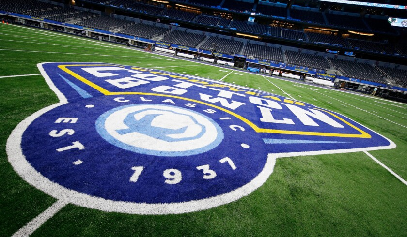A detail shot of the Goodyear Cotton Bowl logo seen on the 50-yard line on Wednesday.
