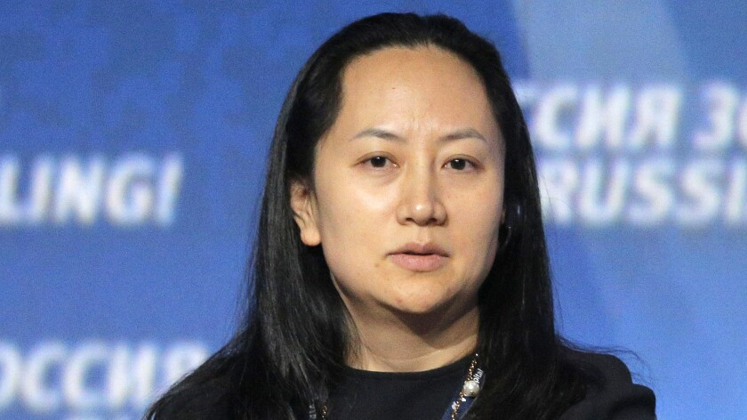 Meng Wanzhou, chief financial officer of Huawei, attends an investment forum in Moscow in October 2014. Meng has been arrested in Canada and detained for potential U.S. sanctions violations.