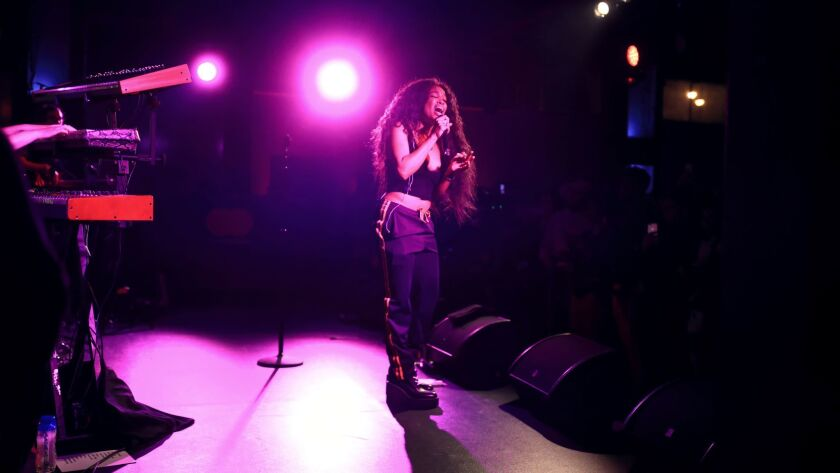 Sza performs onstage during an intimate night at Mastercard House on Jan. 24, 2018 in New York City.