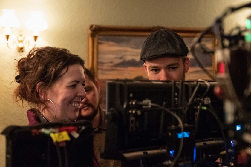 """Lisa McGee on the set of """"Derry Girls."""""""