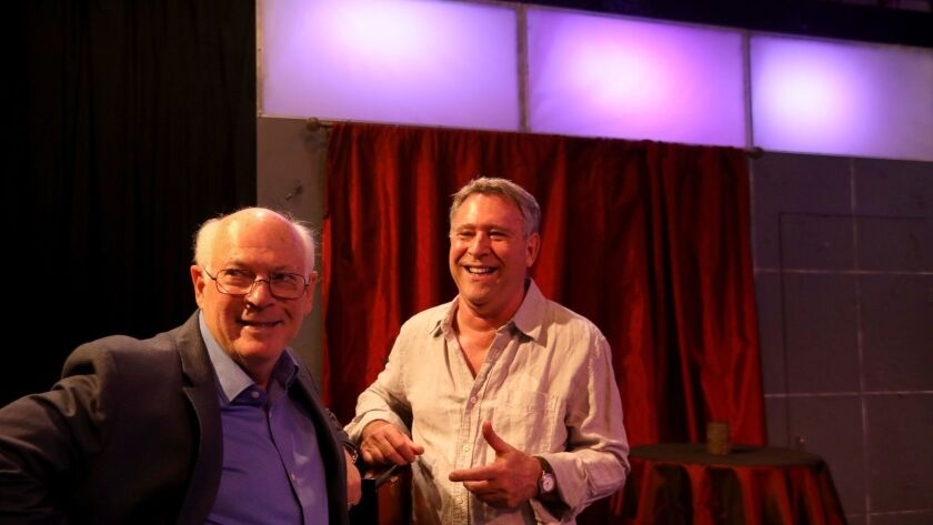 VENICE, CA - NOVEMBER 10, 2018 - - Playwright Joe Gilford, right, and director Michael Pressman work