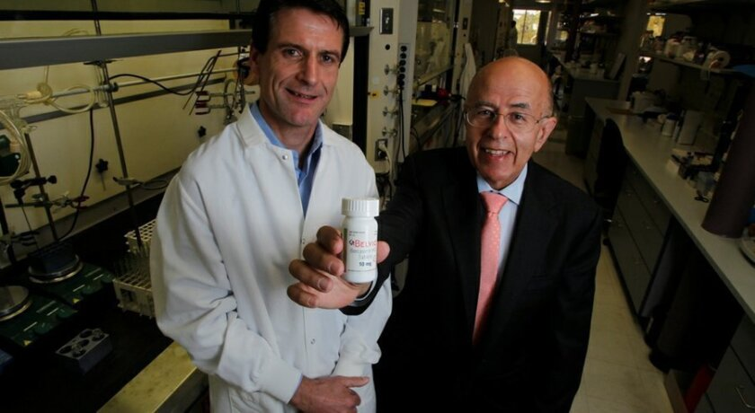 Left, Dominic Behan, Arena Pharmaceutical's executive vice president and chief scientific officer; and Jack Lief, CEO, with bottle of Belviq. Lief resigned as CEO on Monday, Oct. 5, 2015.