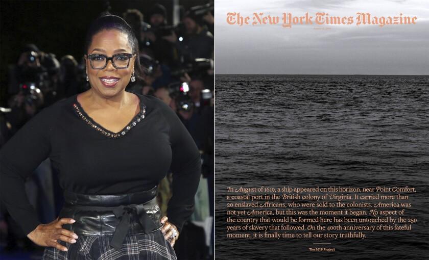 """En esta combinación de fotografías Oprah Winfrey posa en el estreno de la película """"A Wrinkle In Time"""""""