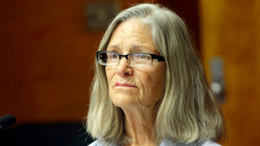 Former Charles Manson follower Leslie Van Houten is seen during a hearing before the California Board of Parole Hearings.