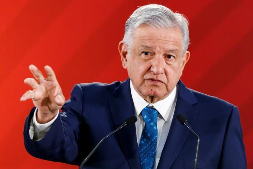 President Andres Manuel Lopez Obrador speaks during a press conference on Feb. 21, 2019, in Mexico City, Mexico. EPA-EFE/Jose Mendez