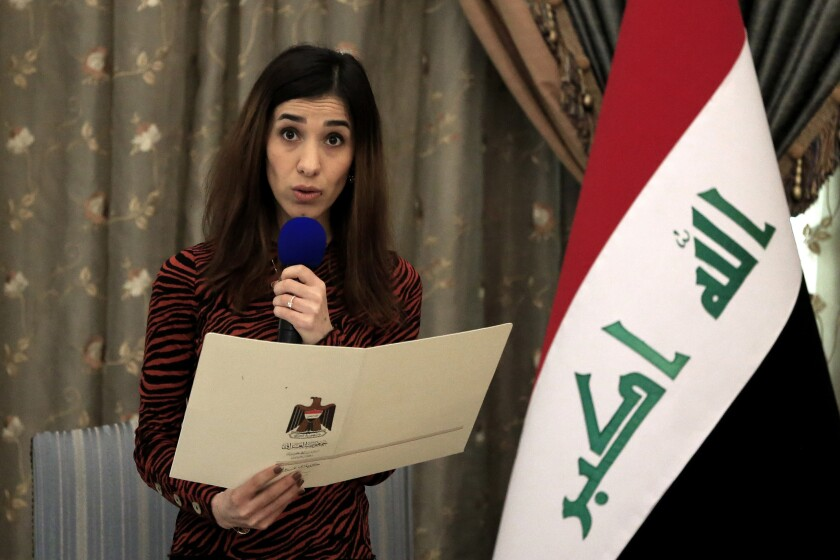 Nobel Peace Prize laureate Nadia Murad, a Yazidi woman who was among those kidnapped and enslaved, welcomed the news of the death of Islamic State leader Abu Bakr Baghdadi.