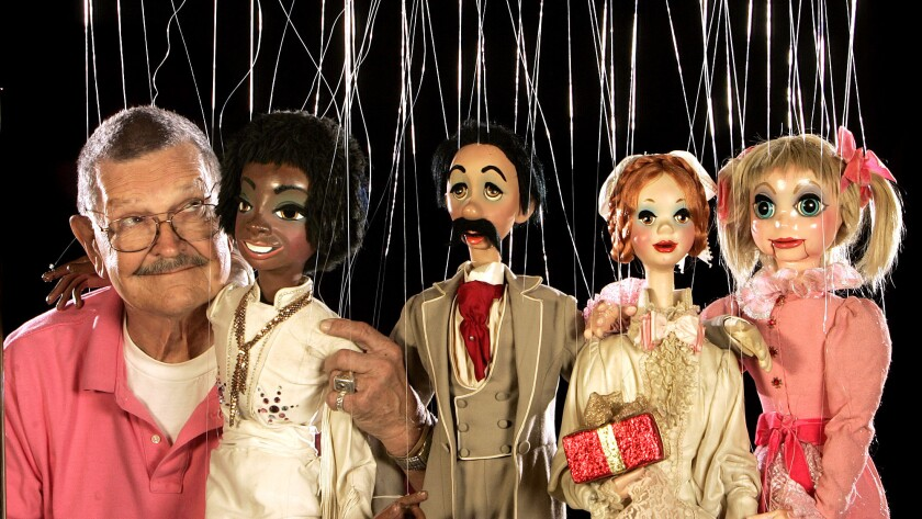 Bob Baker in 2008 with some of his marionettes.