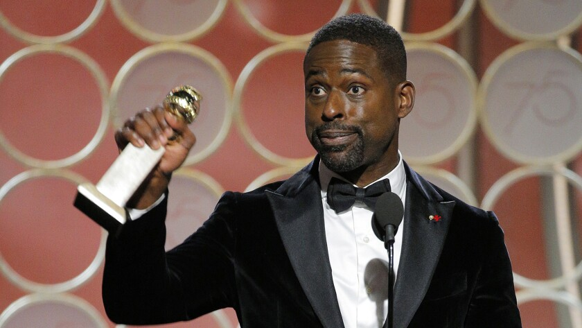 This image released by NBC shows Sterling K. Brown accepting the award for best actor in a TV drama