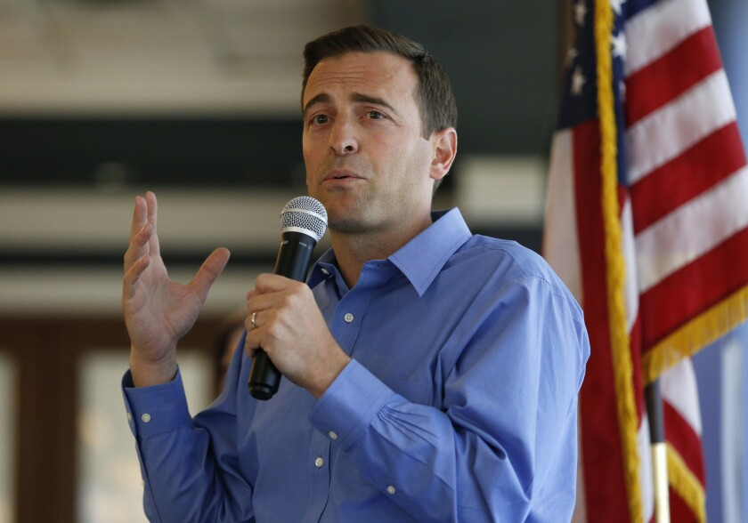 Nevada state Attorney General Adam Laxalt speaks at the Southern Hills Republican Women's Club, Tuesday, Aug. 28, 2018, in Henderson, Nev. Laxalt is running as a Republican candidate for governor of Nevada. (AP Photo/John Locher)