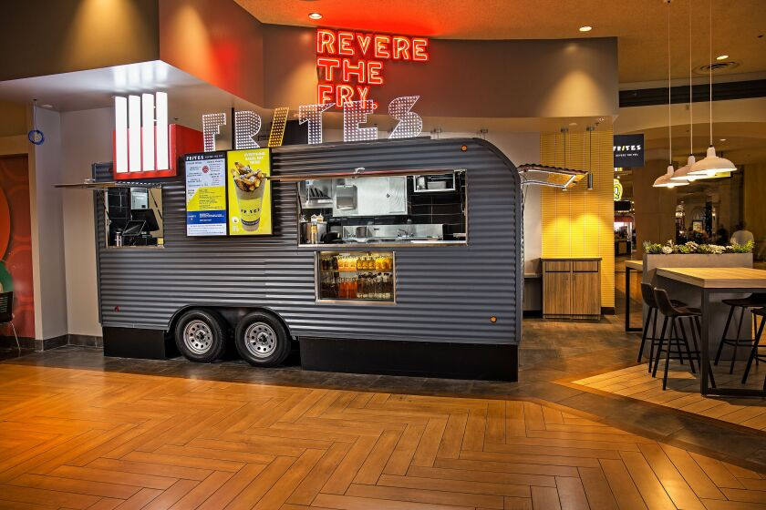 The Frites Las Vegas truck at the Excalibur has a sign that says it all: Revere the Fry
