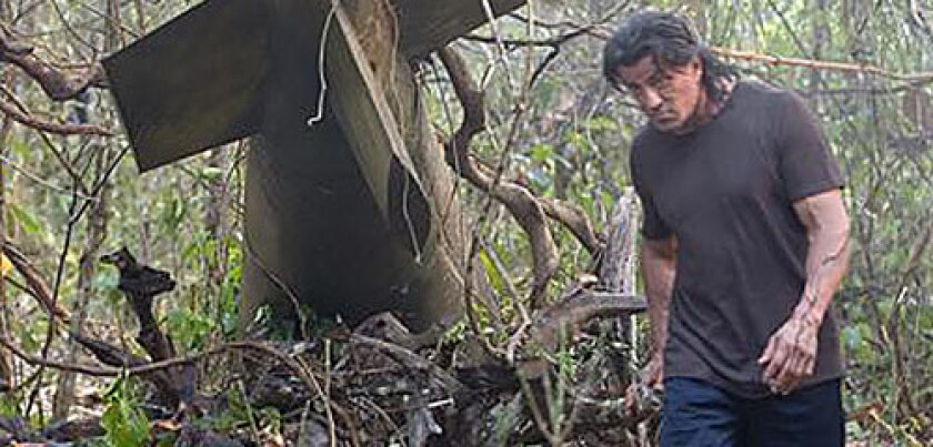 Rambo, played by Sylvester Stallone, escapes a Burmese patrol by strapping an antipersonnel mine to an unexploded WWII Tallboy.