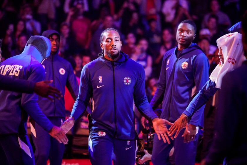 Clippers forward Kawhi Leonard (2), before the game between the Utah Jazz and the Clippers at Staples Center on Sunday.