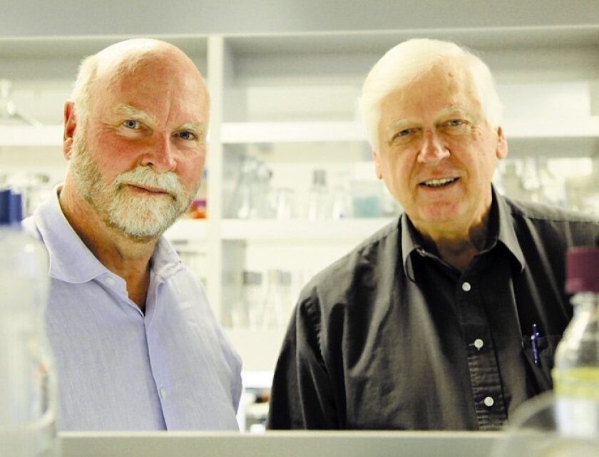 J. Craig Venter (left), founder of Synthetic Genomics and the institute bearing his name, with collaborator and Nobel laureate Hamilton Smith.