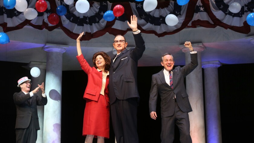 """Lyndon Baines Johnson is the driving force of """"All the Way."""" At South Coast Repertory, he is portrayed by Hugo Armstrong, center, with Nike Doukas as Lady Bird Johnson and JD Cullum, right, as Hubert Humphrey."""