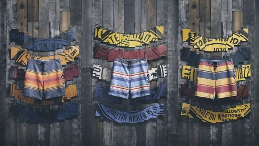 The Hurley x Pendleton x National Park Collection features the surf brand's signature board shorts.