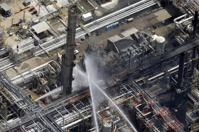 Thursday's chemical plant fire in Geismer, La., is doused.