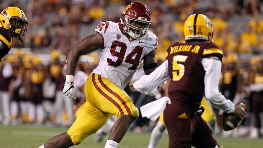 online retailer 17b77 3040c USC sack leader Rasheem Green leaving for NFL - Los Angeles ...