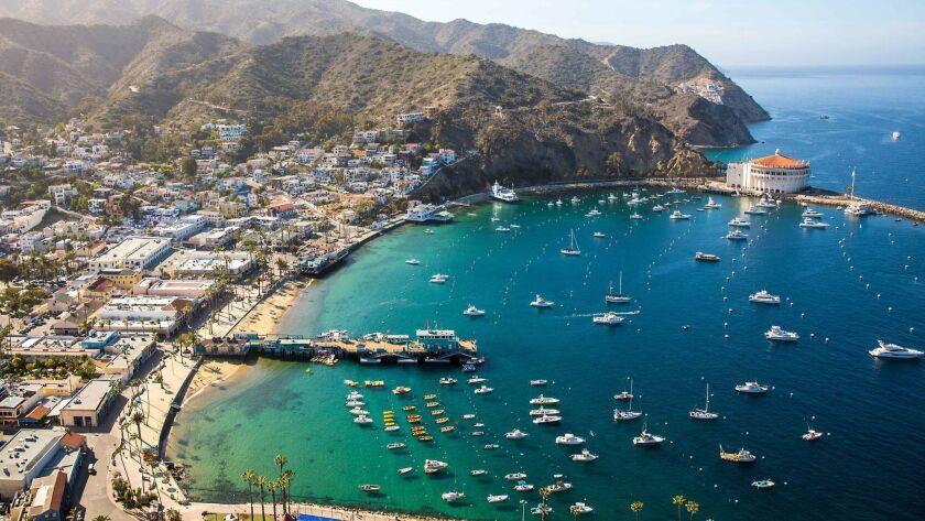 A view of the coast at the Pavillion Hotel on Catalina Island, California.