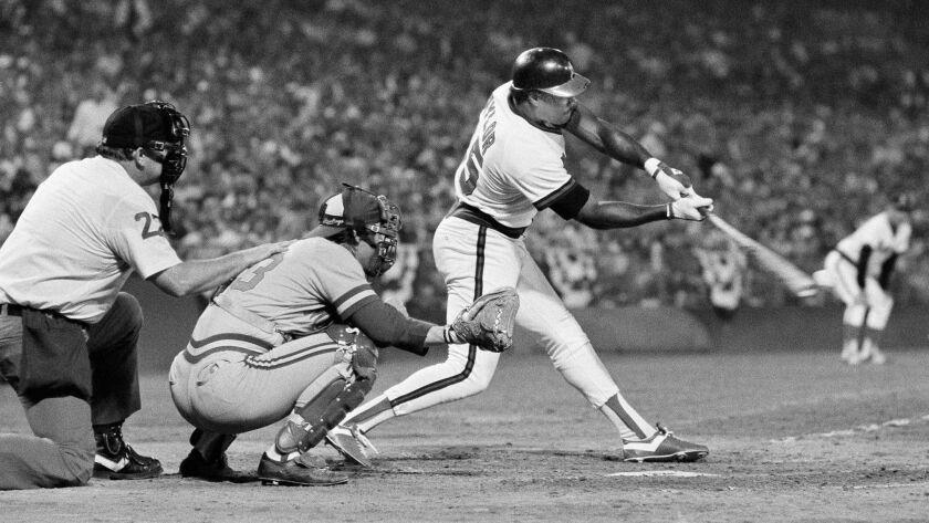 FILE - In this Oct. 5, 1982, file photo, California Angels' Don Baylor swings away during the sixth