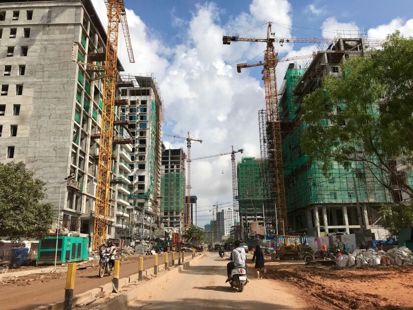 Intensive construction is underway in Sihanoukville, Cambodia, most of it funded by Chinese investors.