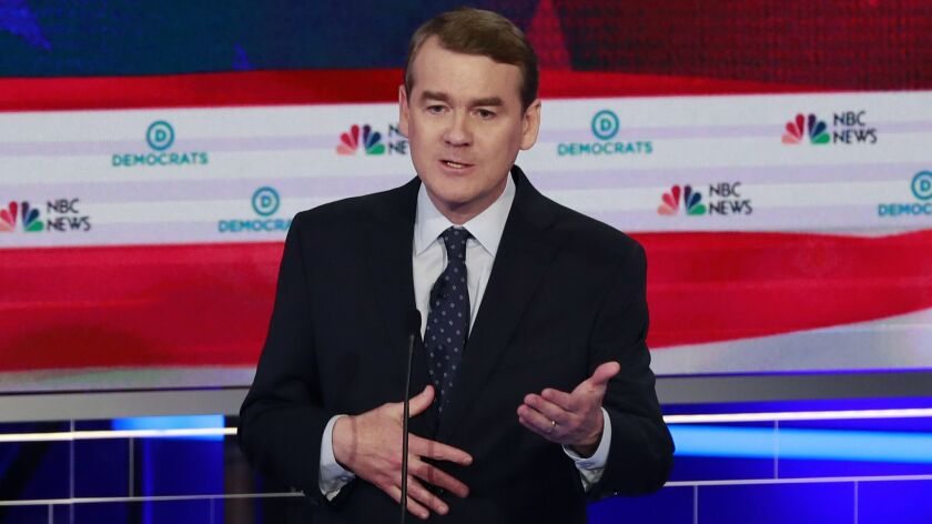 In this June 27, 2019, photo, Democratic presidential candidate Colorado Sen. Michael Bennet speaks