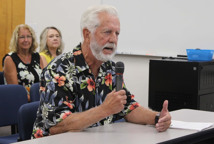 """Retired teacher Gene Doxey talks about emotional intelligence and tells trustees """"you are the ones who lead the district."""""""