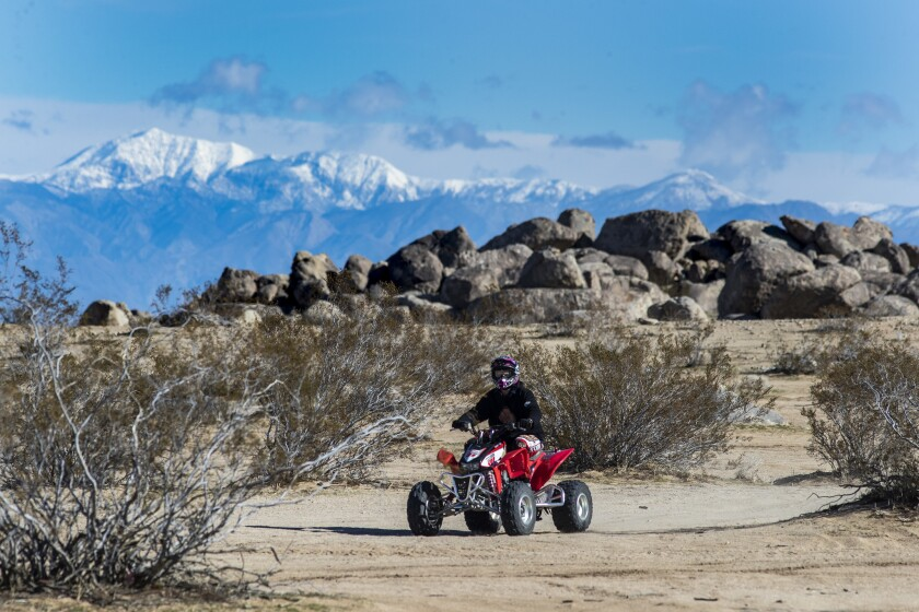 RIDGECREST, CALIF. -- MONDAY, FEBRUARY 18, 2019: An off-roader rides in the Spangler Hills Off-Highw