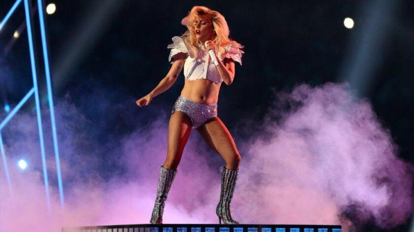 Lady Gaga performs during the halftime show during Super Bowl LI at NRG Stadium.