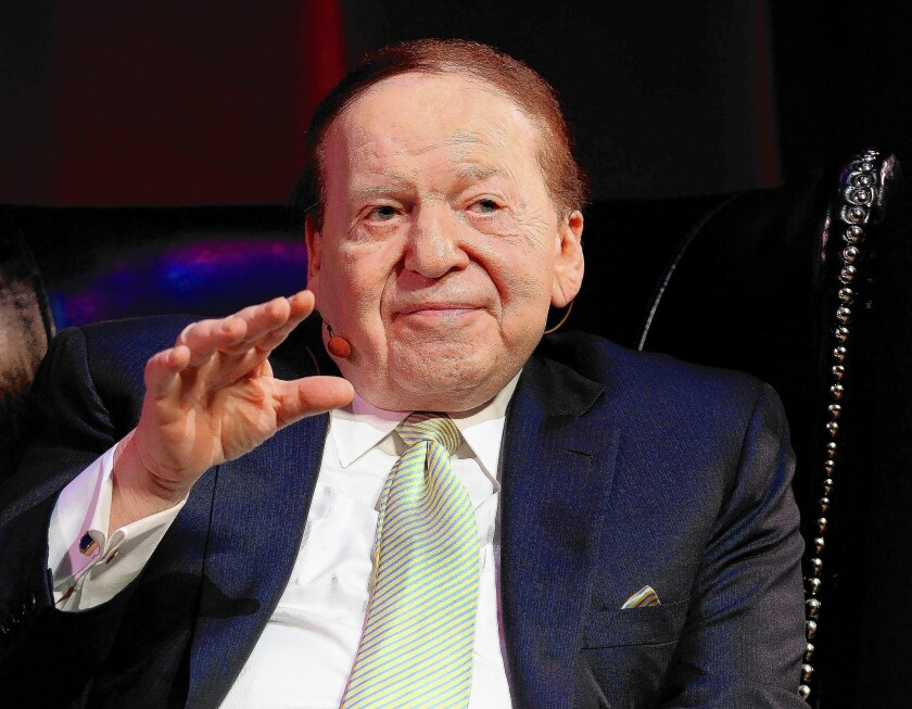 Casino magnate Sheldon Adelson has taken a public stand against online gaming.