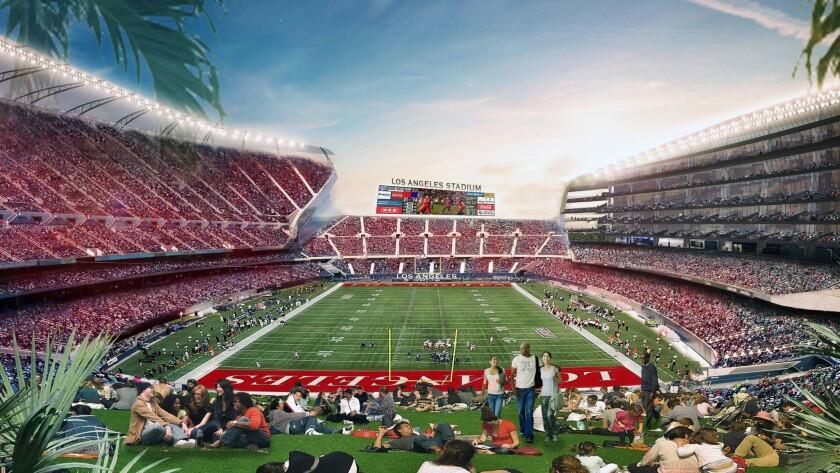 Artist's rendering of proposed stadium in Carson