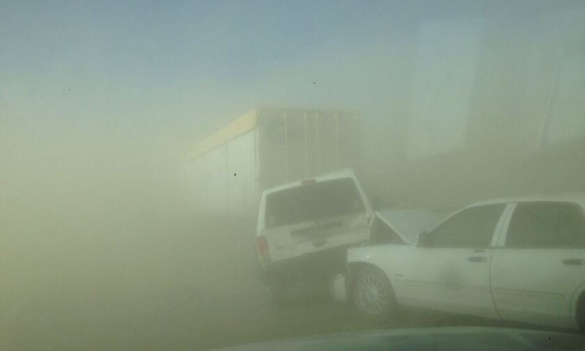 A dust storm triggered a large traffic collison Monday afternoon in Lucerne Valley. About 20 people were hurt, according to the San Bernardino County Fire Department.