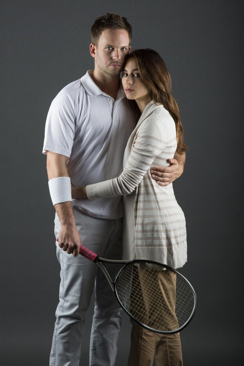 Real-life fiancés Patrick J. Adams and Troian Bellisario star as couple Tim and Mallory in the world premiere of 'The Last Match' at The Old Globe Theatre.